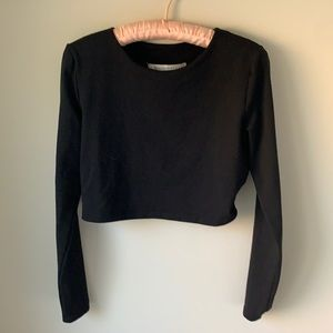 Susana Monaco black long sleeve crop top. Sz: L